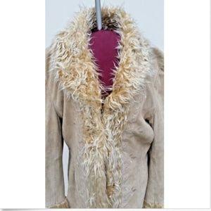 Vintage Suede Beige Faux Fur Trench Coat - L